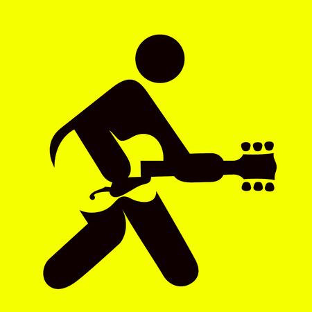 Man playing guitar sign, guitarist icon ,rock and roll music symbol