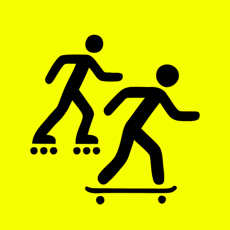 skateboard park: Rollers and skateboarders activity area sign, simple icon vector illustration Illustration