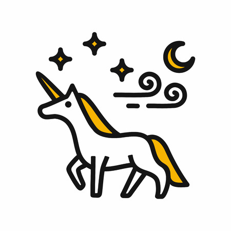 Magical unicorn, stars, clouds and moon, maybe used for posters, greeting card, black outline vector illustration isolated on white background