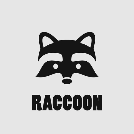 Raccoon face logo, simple black vector icon on white background