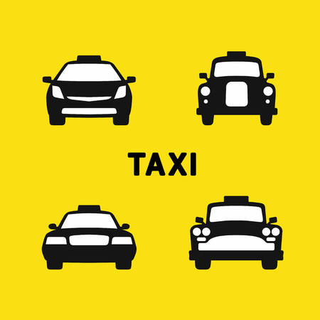 old times: Taxi various times, old and modern taxi cab, front silhouette icons set, vector illustration Illustration