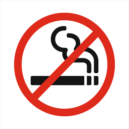 smoldering: No smoking sign vector illustration isolated on white background