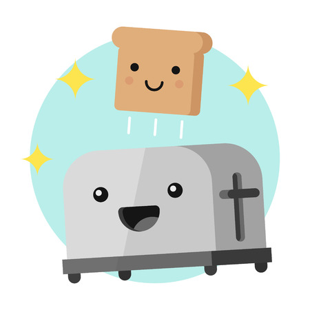 Funny toaster and a slice of bread with smiling faces, vector illustration in a flat style isolated on a white background