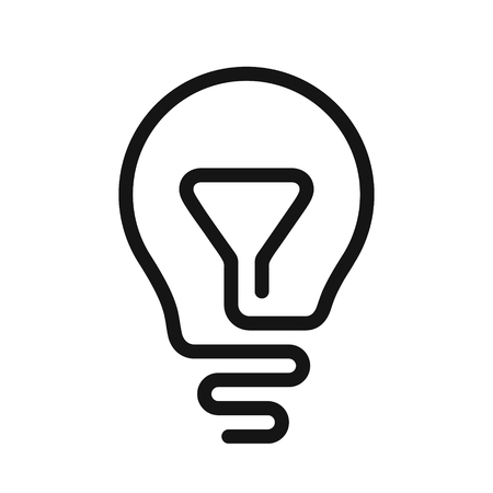 Idea symbol, Light bulb icon, one line vector illustration isolated on white background