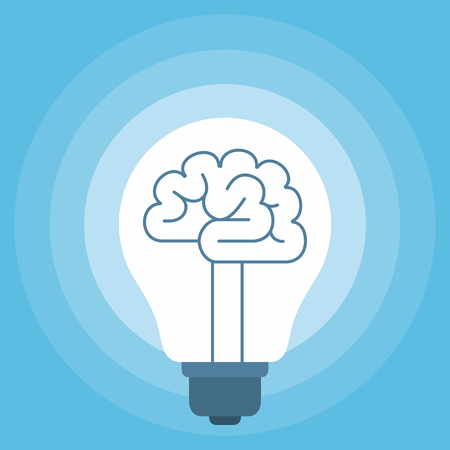 Brain in the light bulb, metaphor for idea, flat style vector illustration on blue background
