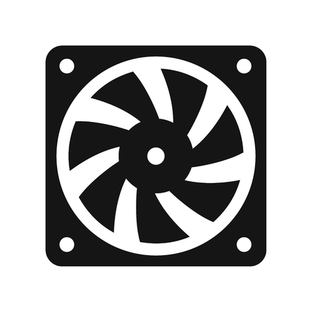Computer cooler black icon, PC hardware fan, vector illustration isolated on white background