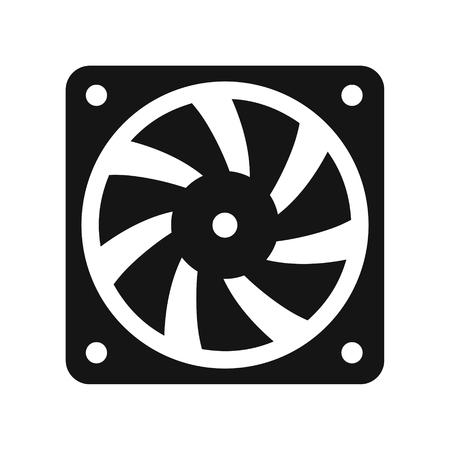 Computer koeler zwart pictogram, pc-hardwareventilator, vectordieillustratie op witte achtergrond wordt geïsoleerd Stock Illustratie