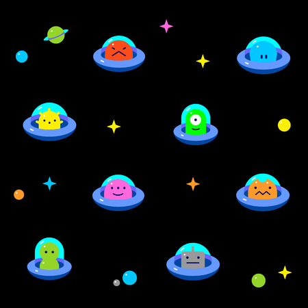 UFO aliens on cosmic space, different colorful extraterrestrials in flying saucers set with stars and planets, flat cartoon style, baby vector seamless pattern on black background
