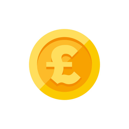 British Pound Sterling Currency Symbol On Gold Coin Money Sign