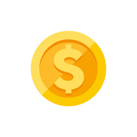 Dollar currency symbol on gold coin, money sign flat style vector illustration isolated on white background