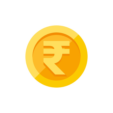 Indian rupees currency symbol on gold coin, money sign flat style vector illustration isolated on white background Illustration