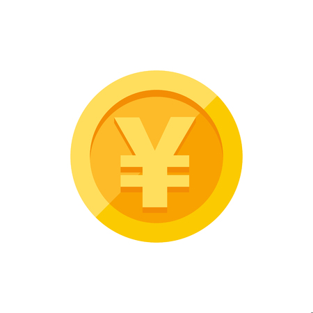 Chinese yuan of Japanse yen valutasymbool op gouden munt, geld teken vlakke stijl vector illustratie geïsoleerd op een witte achtergrond
