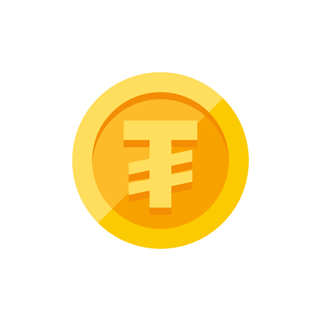 Mongolian tugrik currency symbol on gold coin, money sign flat style vector illustration isolated on white background