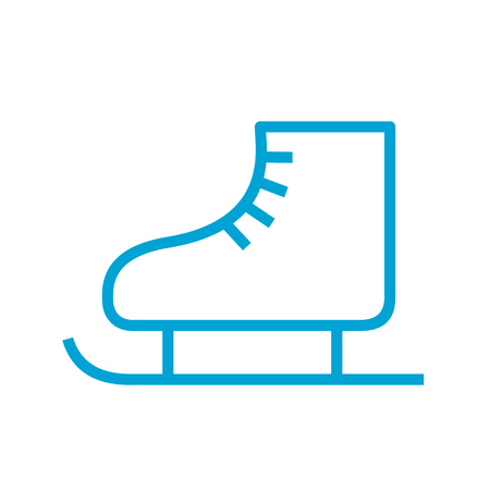 figure skating symbol, skates line style blue color simple icon, vector illustration isolated on white background Stock Illustratie