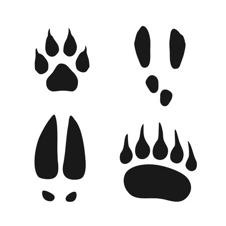 Conjunto de huellas de animales salvajes, lobo, oso, liebre y alce, Ilustración de vector negro simple aislado sobre fondo blanco