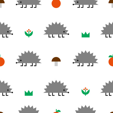 Hedgehog with mushrooms, apples, berries and grass, colored geometric shape vector seamless pattern on white background Illustration