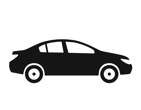 Side view of car icon, sedan silhouette, monochrome black color vector illustration isolated on white background
