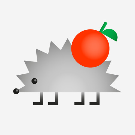 Hedgehog with apple geometric shape gradien color icon, vector illustration isolated on white background