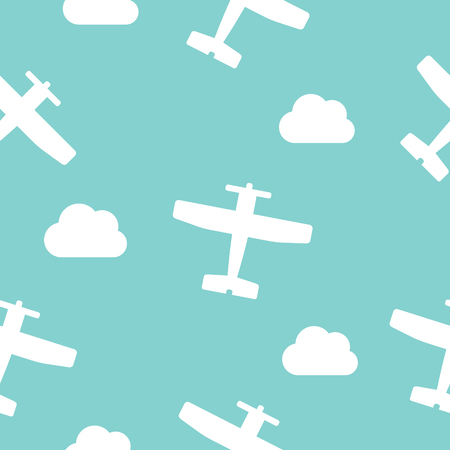 Airplanes and clouds vector seamless pattern for kids on turquoise color background