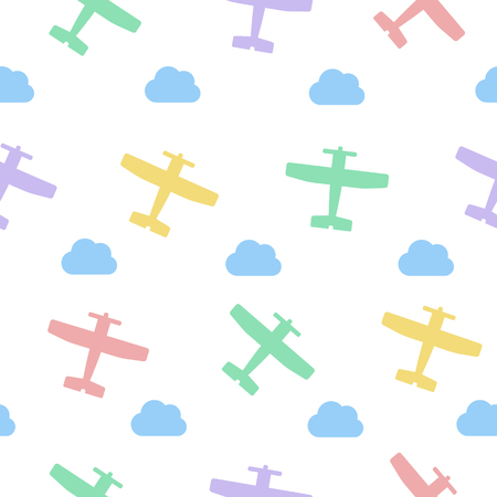 Airplanes and clouds vector seamless pastel colors pattern for kids on white background