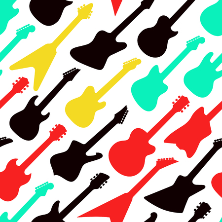 Seamless colorful pattern with different shapes guitars on white background, vector illustration 向量圖像