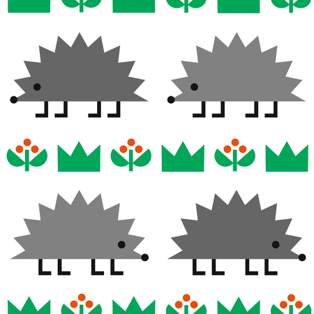 Hedgehogs with berries and grass, colored geometric shape vector seamless pattern on white background