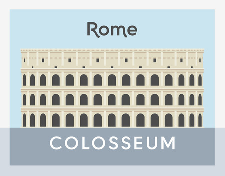 Colosseum flat style, Rome postcard vector illustration
