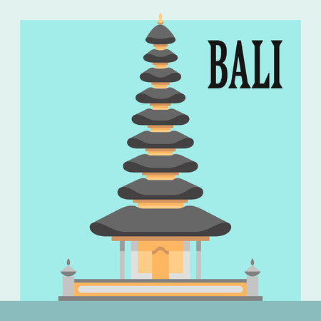 Temple on Bali, Indonesia, flat style vector illustration Ilustração