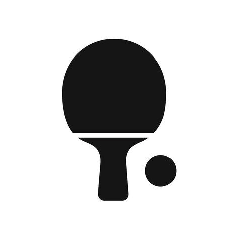Tabble tennis racket with ball black simple icon, ping pong symbol vector illustration isolated on white background 向量圖像
