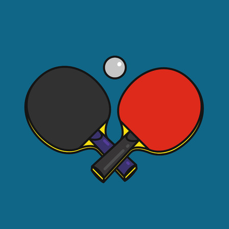 Crossed tabble tennis rackets with ball, ping pong emblem, outline cartoon style vector illustration on blue background