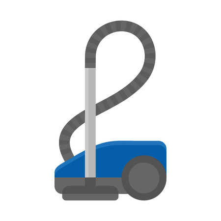 Blue vacuum cleaner icon, flat style vector illustration isolated on white background