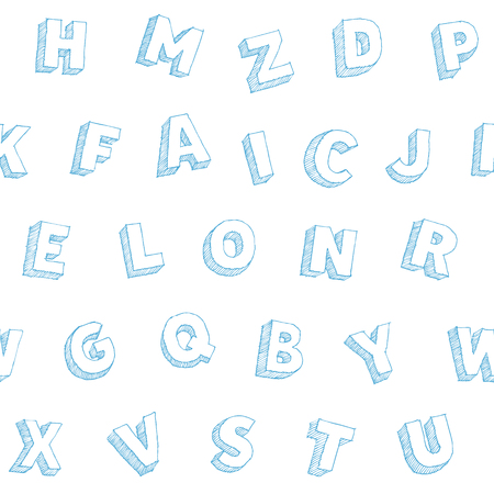 Hand drawn vector alphabet backdrop, sans serif abc symbols, monochrome seamless typography pattern, blue pen doodle with hatching large letters on white background 向量圖像