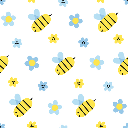 Bees and flowers simple childly seamless vector pattern on white background