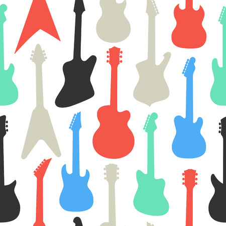 Seamless different shapes and colors guitars pattern on white background, vector illustration