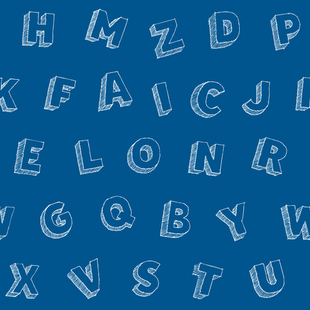 Hand drawn vector alphabet backdrop, sans serif abc symbols, monochrome seamless typography pattern, white chalk doodle with hatching letters on blue background  イラスト・ベクター素材