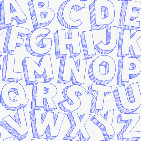 Large white chalk letters hand drawn vector alphabet seamles pattern on black background 向量圖像