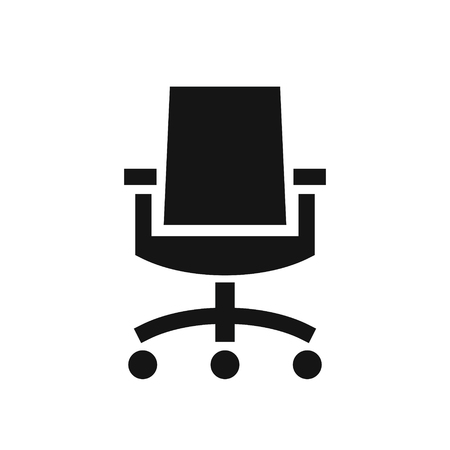 Business office chair simple black icon, modern furniture, vector illustration isolated on white background