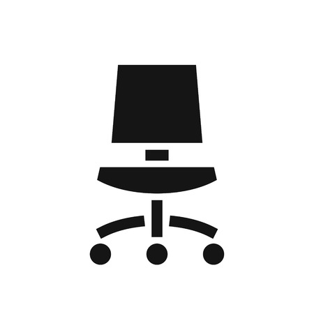 Office chair black simple icon, modern furniture, vector illustration isolated on white background 向量圖像
