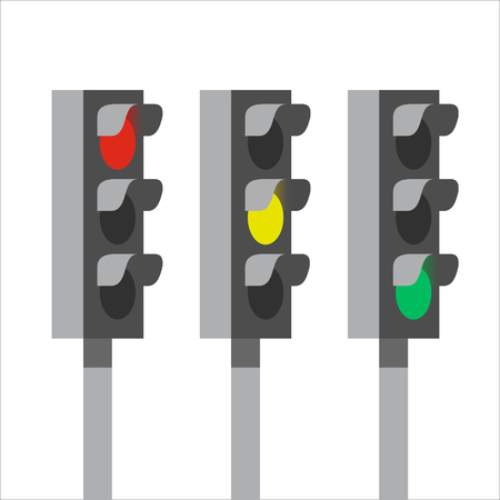 Traffic light signals, vector illustration on white background 向量圖像