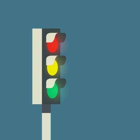 Glow traffic light, vector illustration on blue background Illusztráció