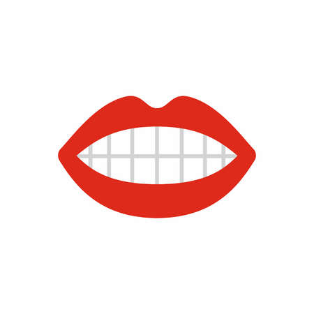 Mouth icon, teeth and lips with red lipstick, simple vector illustration isolated on white background 向量圖像