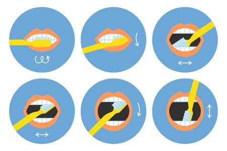 Come lavarsi i denti istruzioni 6 passaggi, illustrazione vettoriale rotondo isolato su sfondo bianco Vettoriali