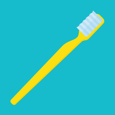 Yellow toothbrush, simple vector illustration on turquoise background 向量圖像