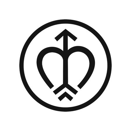 Bow and arrow symbols, round logo heart shape, black icon, vector illustration isolated on white background