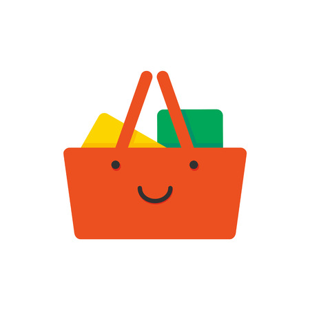 Shopping basket with smile face, red color flat style icon, good shopping concept, vector illustration isolated on white background 向量圖像
