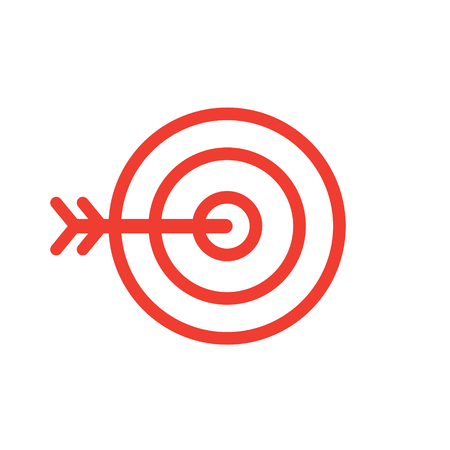 Target and arrow line style simple icon vector illustration isolated on white background