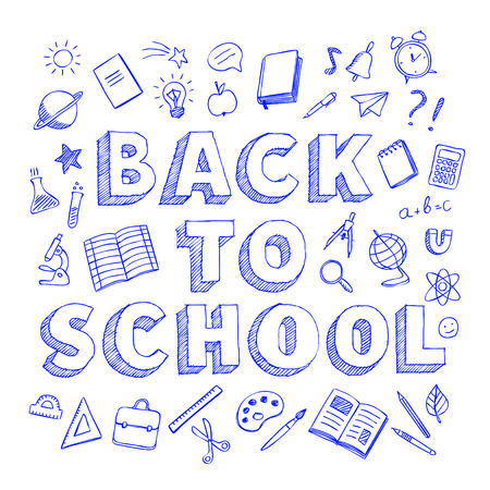 Back to school poster with school supplies, blue pen hand drawn doodles style vector illustration isolated on white background