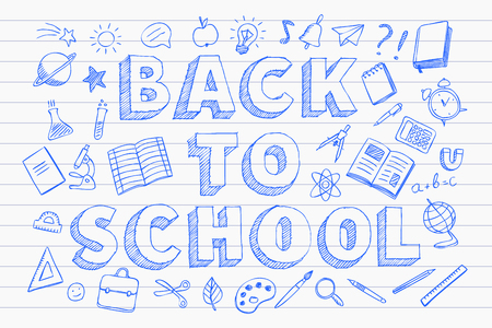Back to school banner with with school supplies, blue pen hand drawn doodles style vector illustration 向量圖像