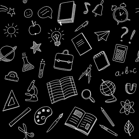 Seamless pattern with school supplies, white chalk hand drawn doodles on black background 向量圖像