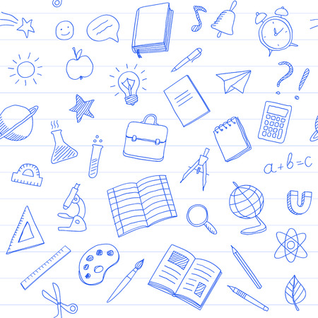 Seamless pattern with school supplies, blue pen hand drawn doodles style on white background